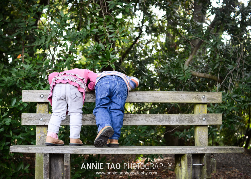East-Bay-Lifestyle-Family-Photography-toddlers-on-bench-looking-over