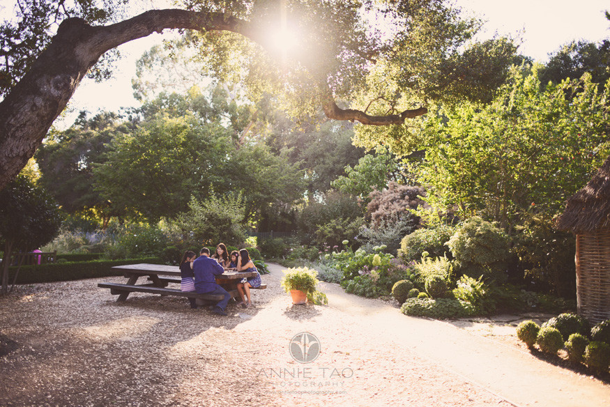 Bay-Area-San-Francisco-lifestyle-family-photography-family-playing-game-at-garden-picnic-table-wideshot