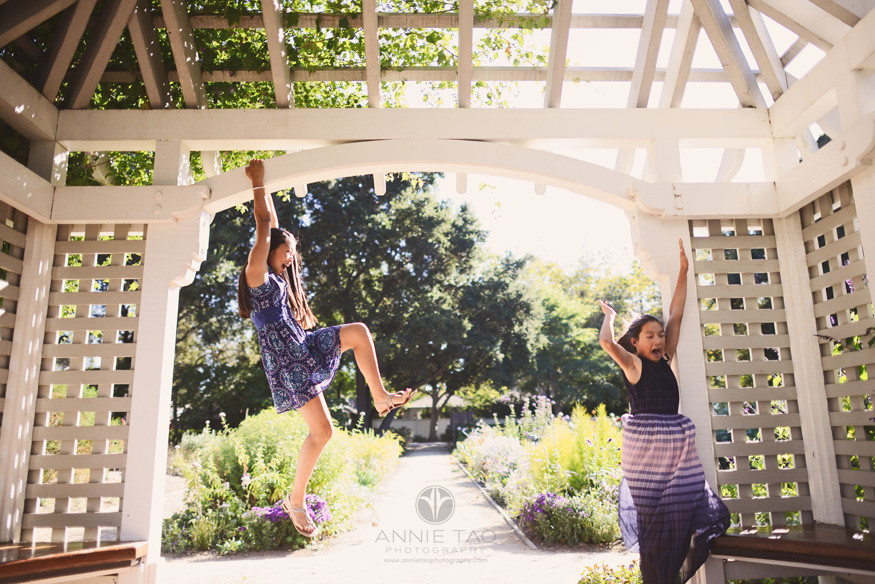 Bay-Area-San-Francisco-lifestyle-children-photography-sisters-monkeying-around-in-garden