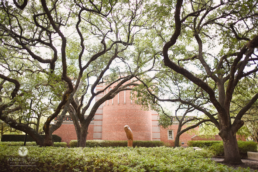 Commercial-Photography-Rice-Business-School-owl-sculpture-and-windy-trees-against-building