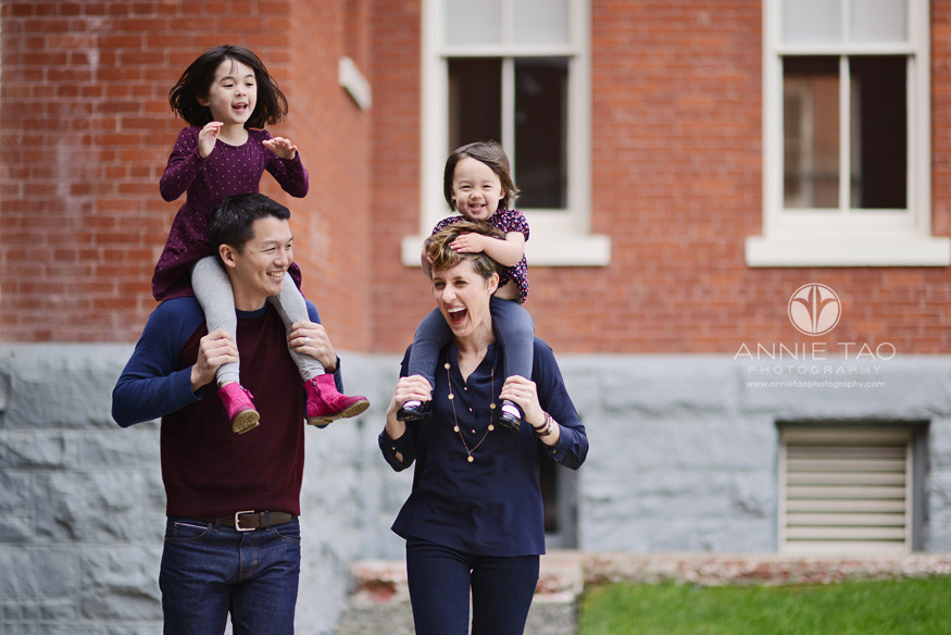 San-Francisco-lifestyle-family-photography-daughters-riding-on-parents-shoulders-laughter-ensues