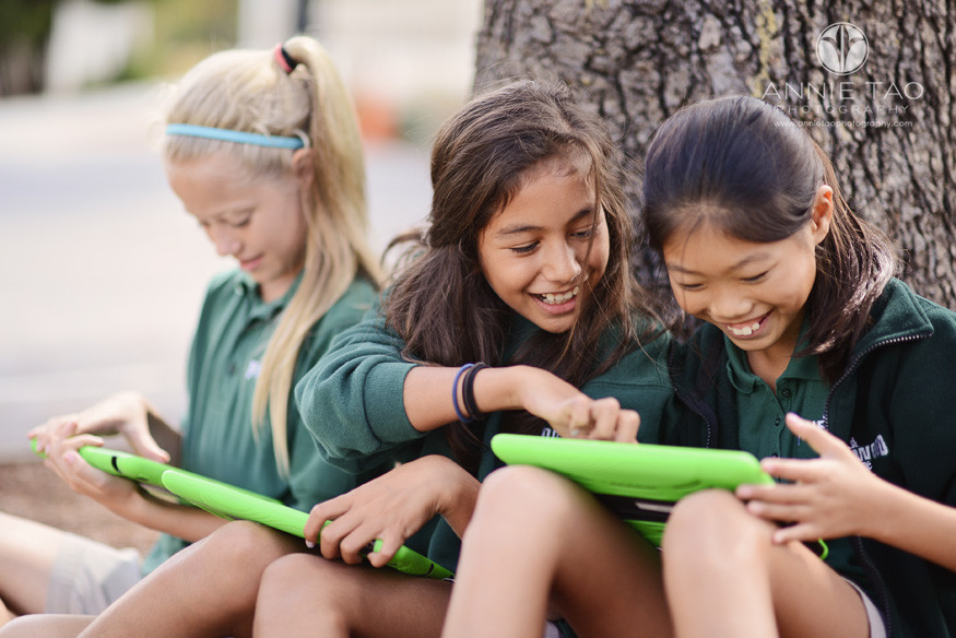 Bay-Area-Los-Altos-Commercial-Photography-school-three-girls-working-on-iPads-outdoors