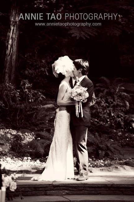 Los-Altos-Wedding-Photography-bride-and-groom-first-kiss-ceremony