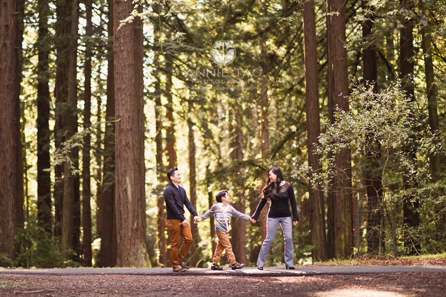 East-Bay-lifestyle-family-photography-parents-holding-hands-with-son-on-walking-path-in-forest