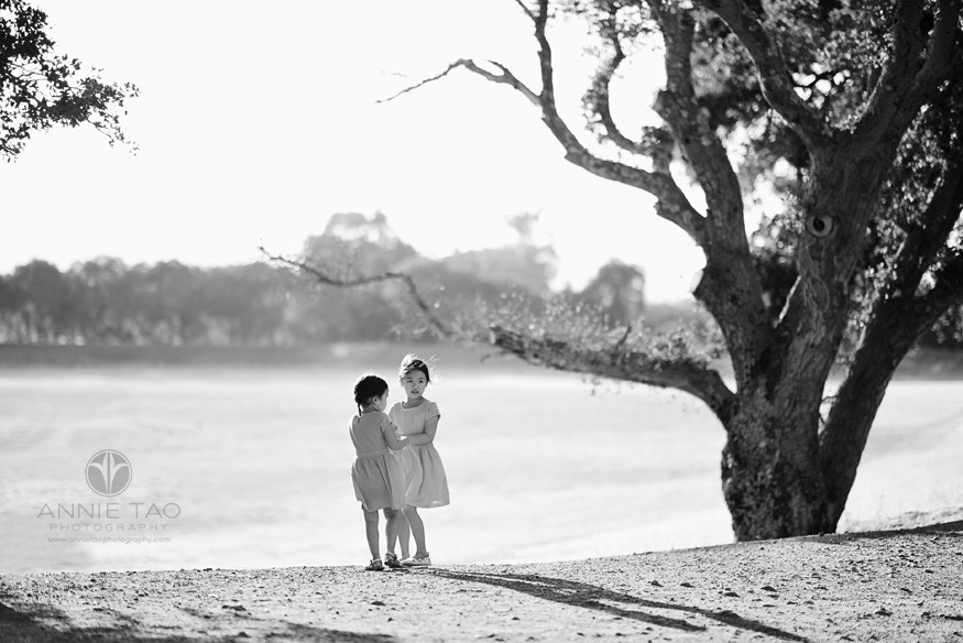 San-Francisco-Bay-Area-Peninsula-lifestyle-children-photography-girls-dancing-together-next-to-large-tree-BxW