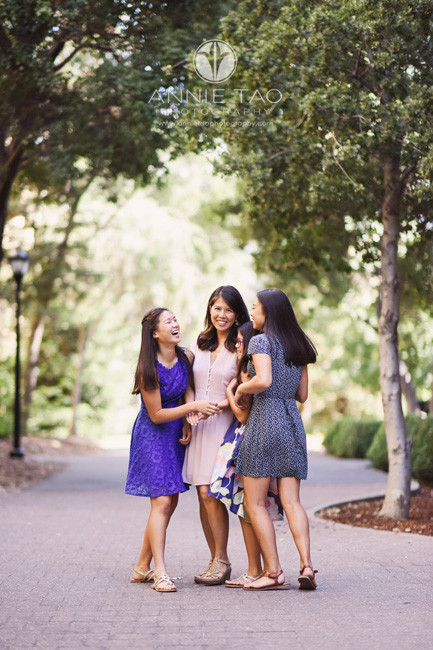 Bay-Area-lifestyle-family-photography-mom-and-daughters-laughing-by-trees