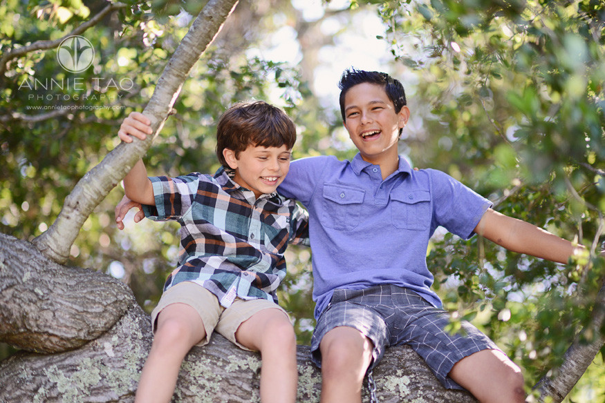 South-Bay-lifestyle-children-photography-brothers-laughing-in-a-tree