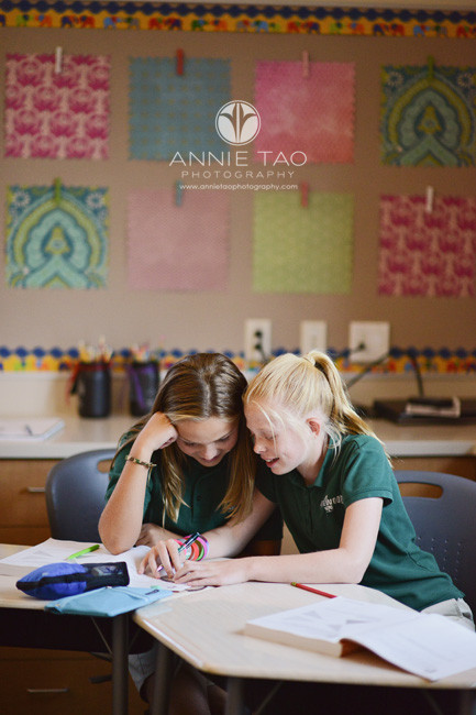 San-Francisco-Bay-Area-education-photography-two-middle-school-girls-working-together-in-classroom
