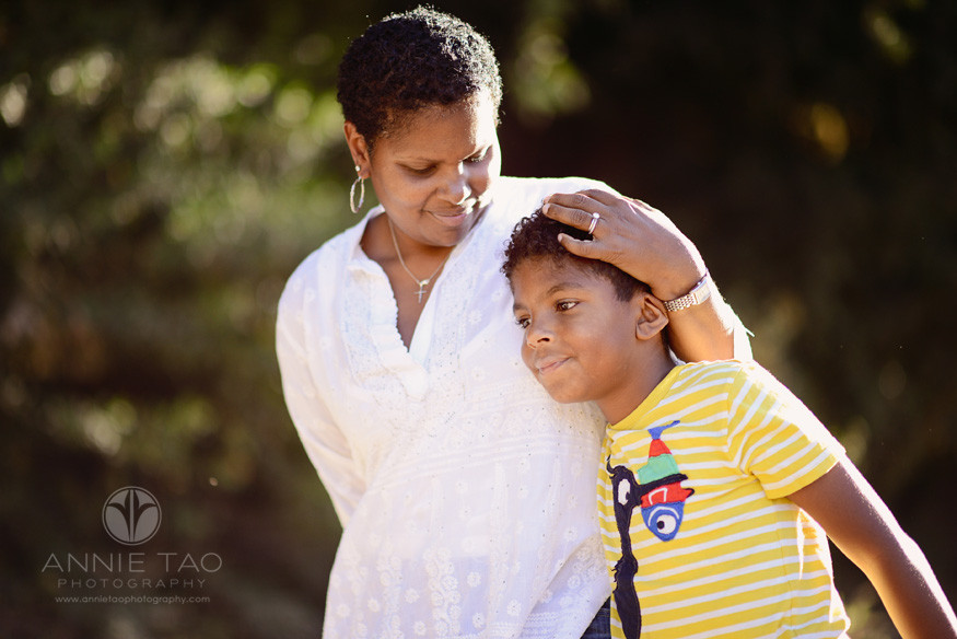 Bay-Area-Los-Altos-lifestyle-family-photography-mother-cuddling-son-while-walking