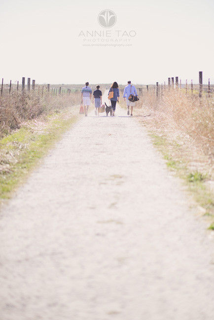 Bay-Area-lifestyle-family-photography-family-of-four-walking-on-path-with-dog-to-beach