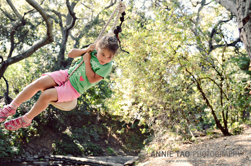 Palo-Alto-lifestyle-family-photography-youngest-daughter-swinging-near-creek