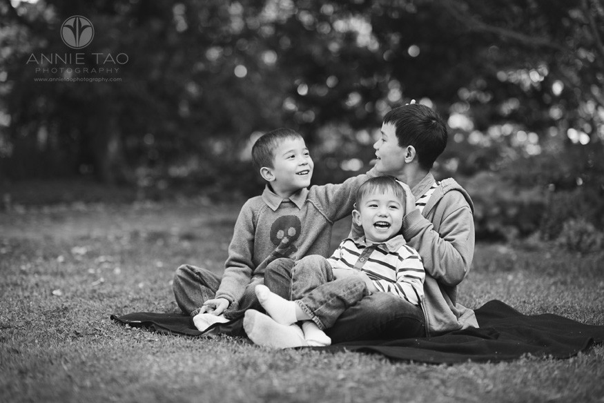 San-Francisco-Bay-Area-lifestyle-children-photography-three-brothers-playing-on-picnic-blanket-BxW