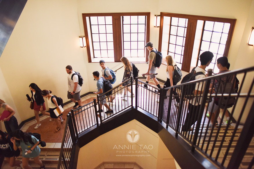 Commercial-Photography-Rice-Business-School-students-walking-down-stairs