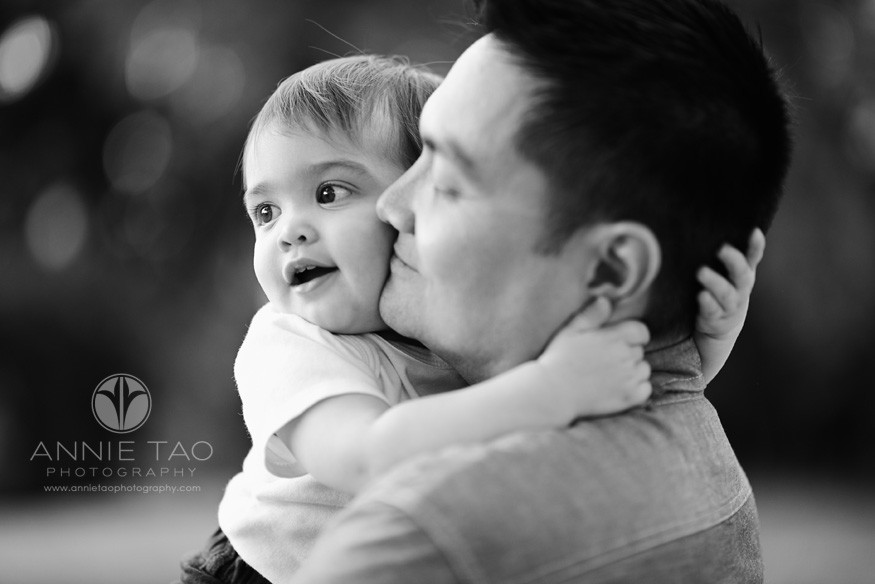 Bay-Area-San-Francisco-East-Bay-lifestyle-family-photography-baby-boy-hugging-dad-tightly-BxW