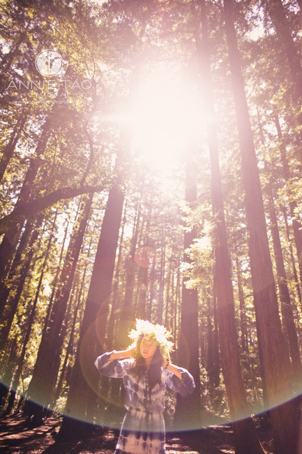 East-Bay-styled-photography-woodland-girl-in-middle-of-forest-and-sunflare