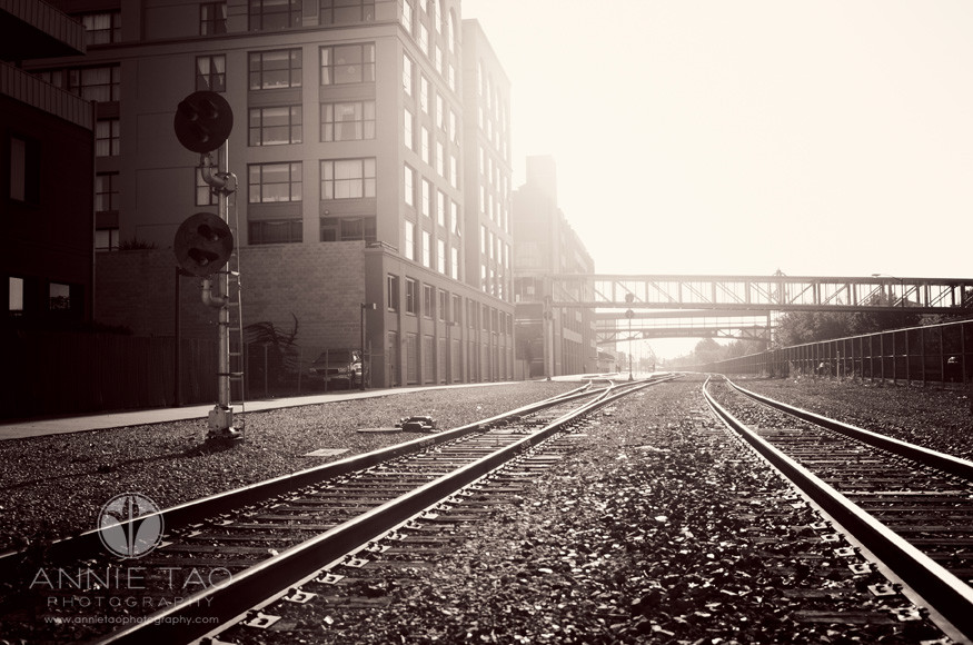 East-Bay-lifestyle-photography-Oakland-train-tracks-in-the-morning-light-BxW