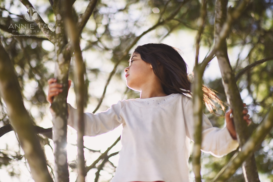 East-Bay-lifestyle-children-photography-young-girl-standing-in-a-tree-on-a-windy-day
