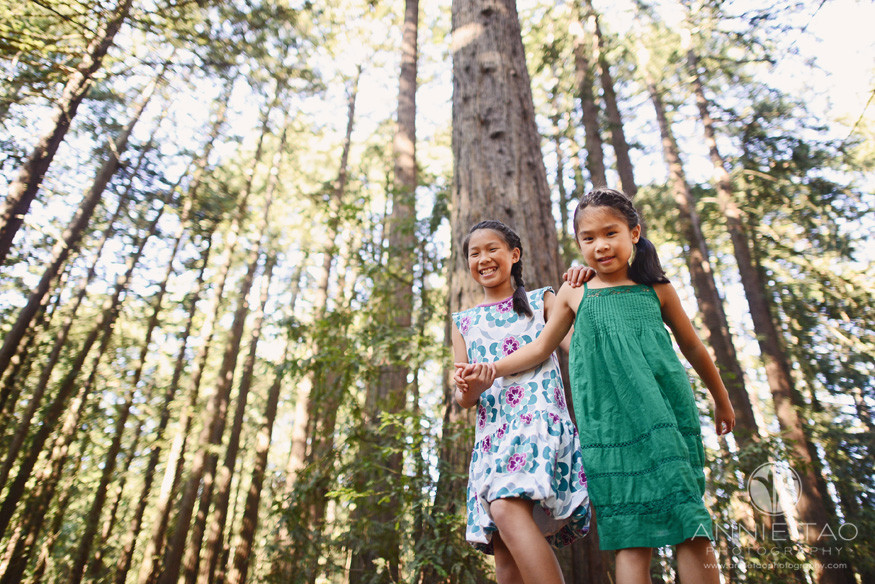 East-Bay-styled-children-photography-two-sisters-standing-tall-in-woods