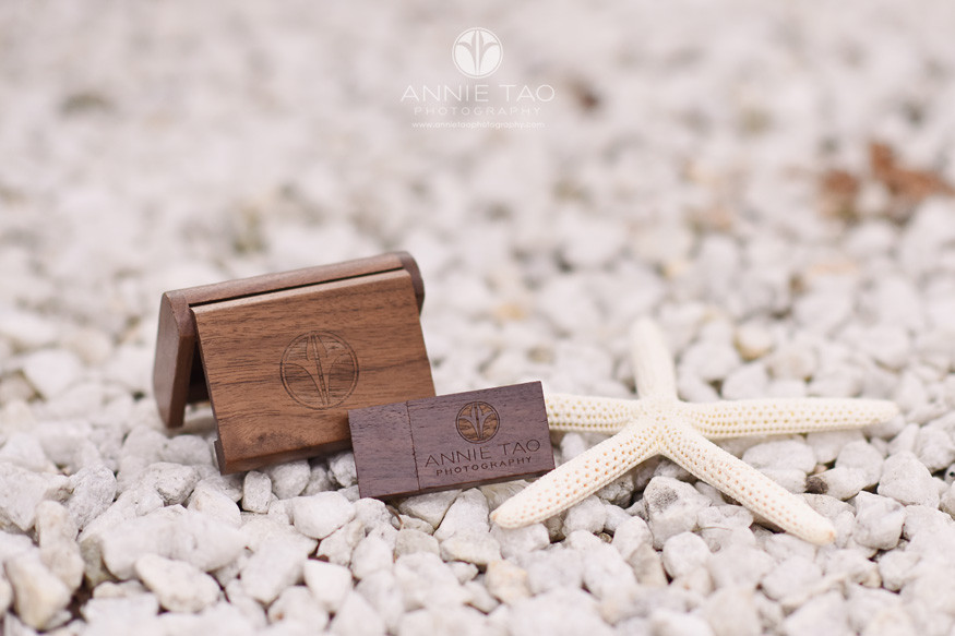 Annie-Tao-Photography-product-USB-walnut-case-and-flash-drive-on-white-rocks