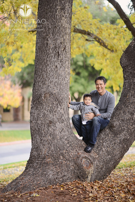 Bay-Area-Palo-Alto-lifestyle-family-photography-father-sitting-in-tree-with-baby