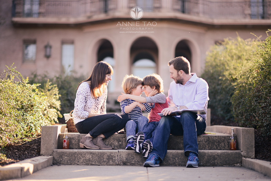 Bay-Area-styled-family-photography-brothers-looking-at-each-other-with-parents