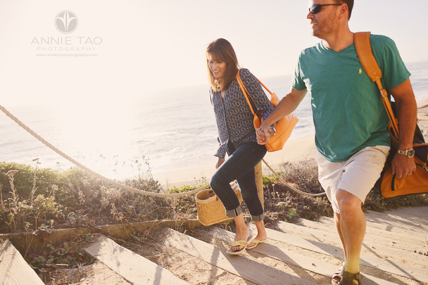 Bay-Area-lifestyle-photography-couple-holding-hands-walking-up-stairs-at-sunset