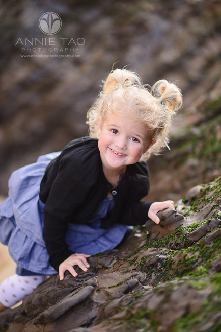 Bay-Area-Half-Moon-Bay-lifestyle-children-photography-toddler-girl-climbing-rock-wall