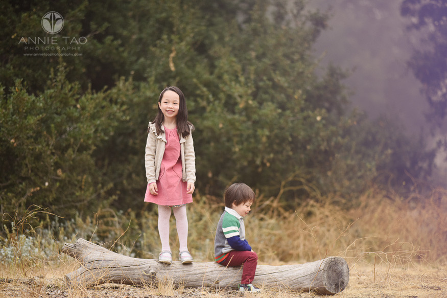 San-Francisco-Bay-Area-lifestyle-children-photography-young-girl-and-brother-playing-on-log-in-fog