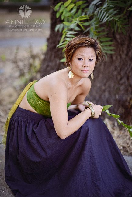 East-Bay-styled-photography-woman-with-short-hair-squatting-with-full-skirt