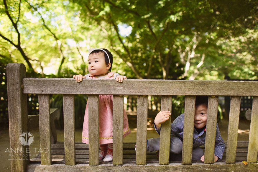 Bay-Area-lifestyle-children-photography-baby-and-preschool-brother-showing-personality-on-park-bench