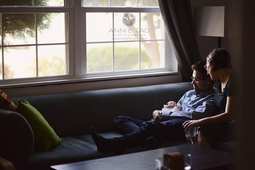 San-Francisco-Bay-Area-East-Bay-Newborn-Photography-new-parents-hanging-out-in-the-livingroom-with-their-10-day-old-baby
