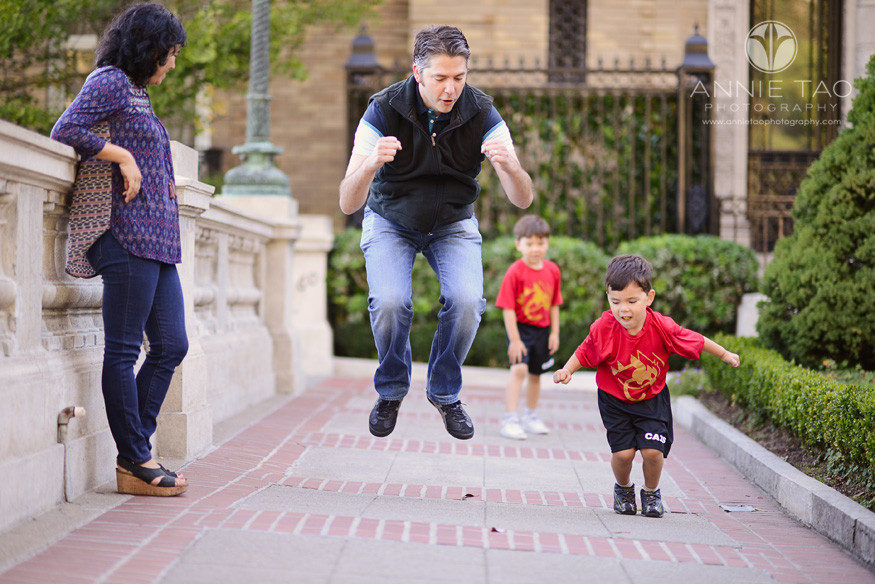 San-Francisco-Bay-Area-lifestyle-family-photography-father-jumping-with-son-while-family-watches-2