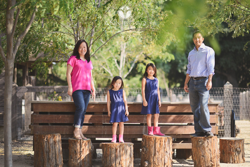 East-Bay-family-lifestyle-photography-family-of-four-standing-on-tree-stumps