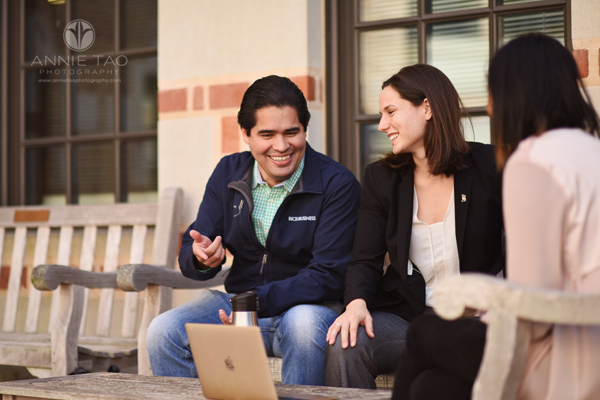 Houston-commercial-photography-three-business-school-students-sitting-on-benches-for-group-study