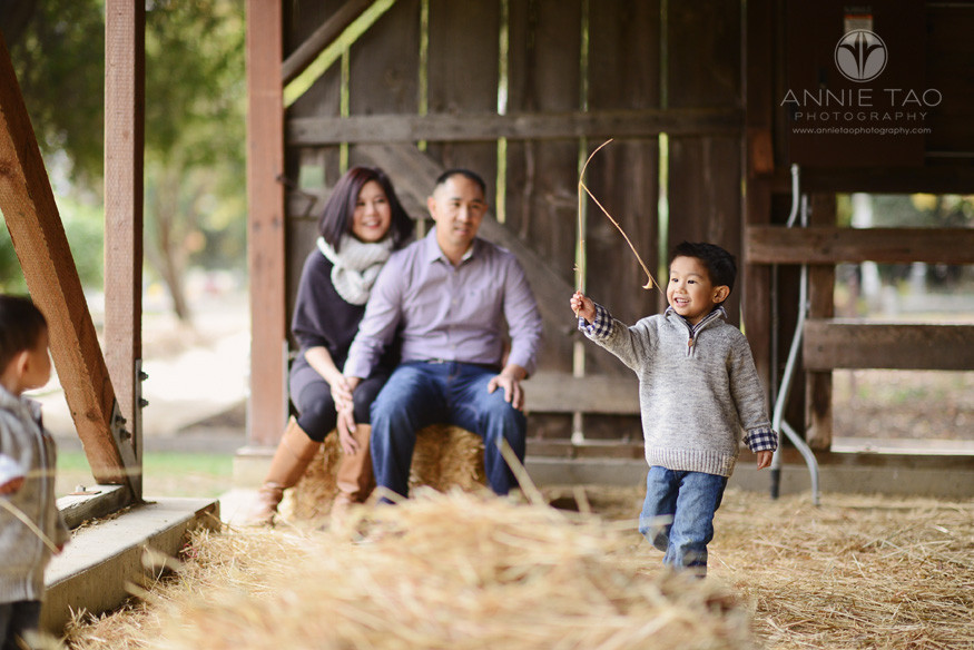 East-Bay-lifestyle-family-photography-young-boy-shows-brother-wheat-with-parents-watching