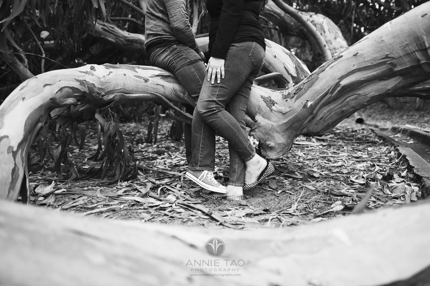 San-Francisco-engagement-photography-couples-legs-intertwined-by-tree-BxW