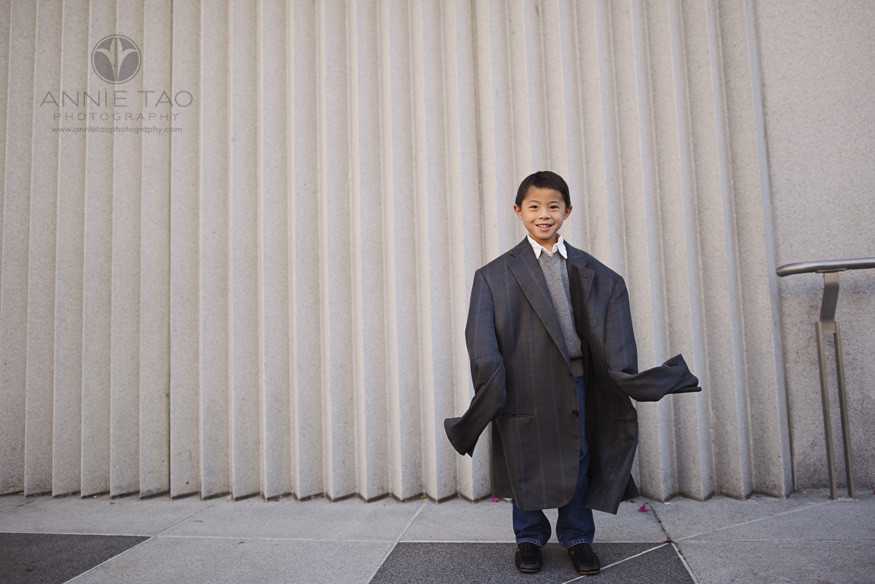 San-Francisco-lifestyle-children-photography-young-boy-wearing-fathers-coat