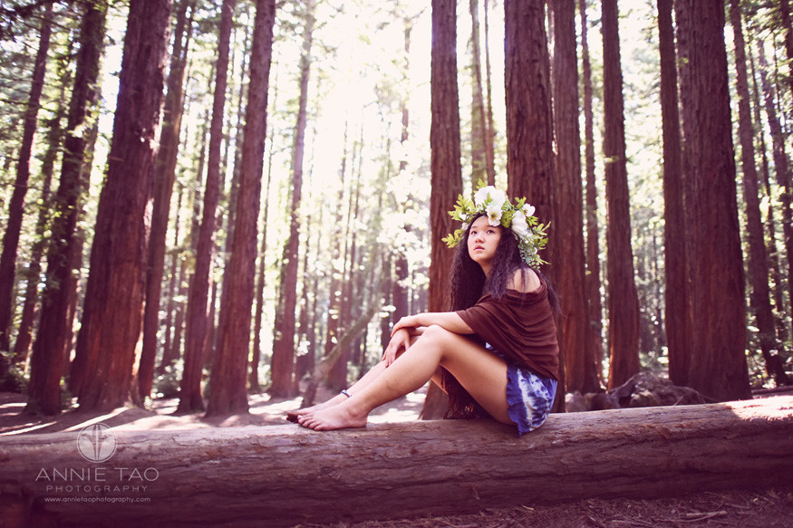 East-Bay-styled-photography-woodland-girl-sitting-on-log