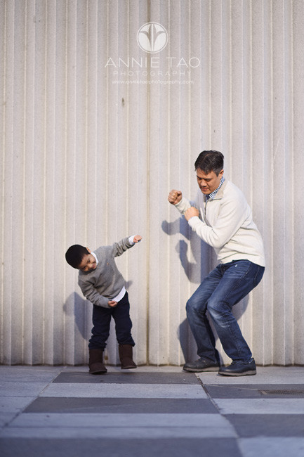 San-Francisco-lifestyle-family-photography-father-and-son-dancing-downtown