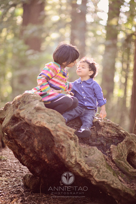 east-bay-lifestyle-children-photography-siblings-affectionate-on-rock-in-woods