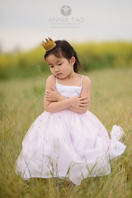 East-Bay-styled-children-photography-princess-with-gold-crown-looking-down