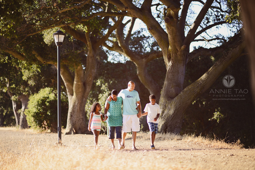 Bay-Area-lifestyle-family-photography-Family-walking-together-on-path-by-trees
