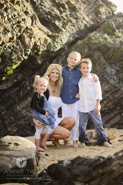 Bay-Area-Half-Moon-Bay-lifestyle-family-photography-mom-with-her-three-children