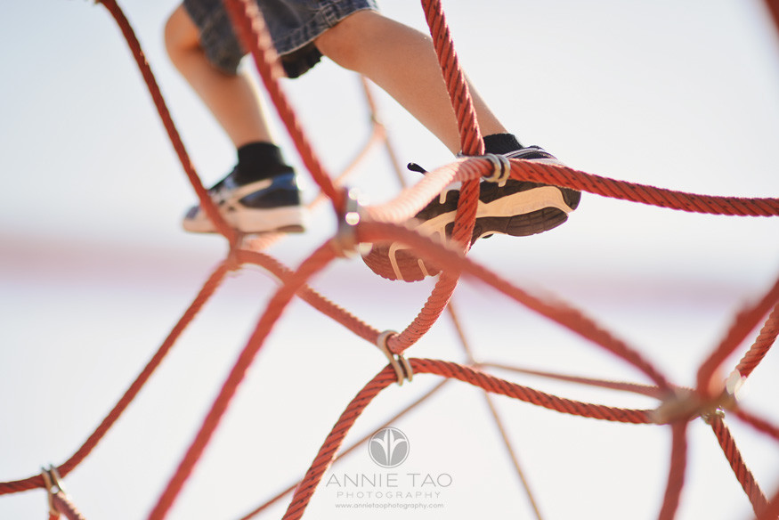 East-Bay-lifestyle-children-photography-young-boy-sneakers-climbing-rope