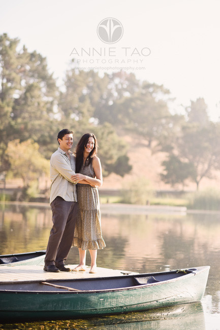 Bay-Area-lifestyle-photography-couple-embracing-on-dock-at-lake