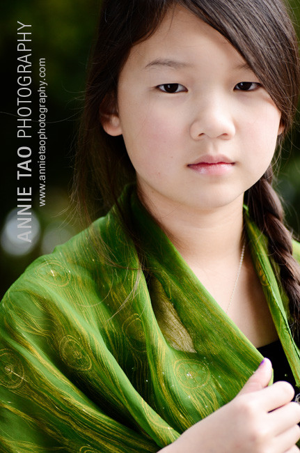 Preteen-model-styled-photography-dressed-in-green-serious