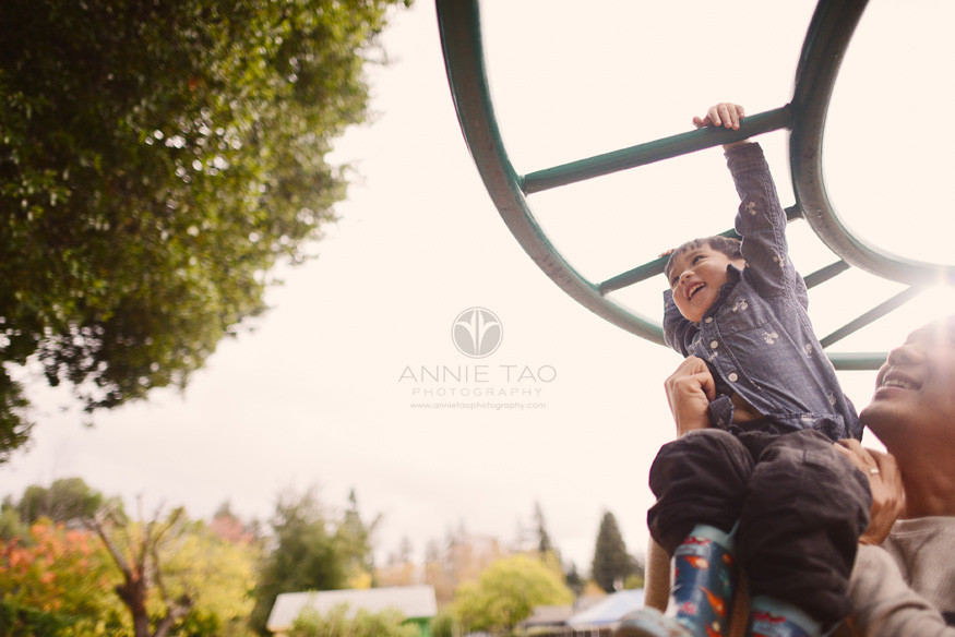 Los-Altos-lifestyle-family-photography-father-helping-toddler-swing-on-playstructure