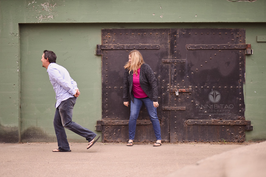 San-Francisco-engagement-photography-playful-couple-by-battery-door-2