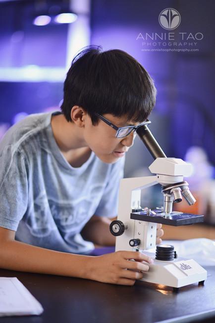 Bay-Area-Los-Altos-Commercial-Photography-high-school-boy-looking-into-microscope
