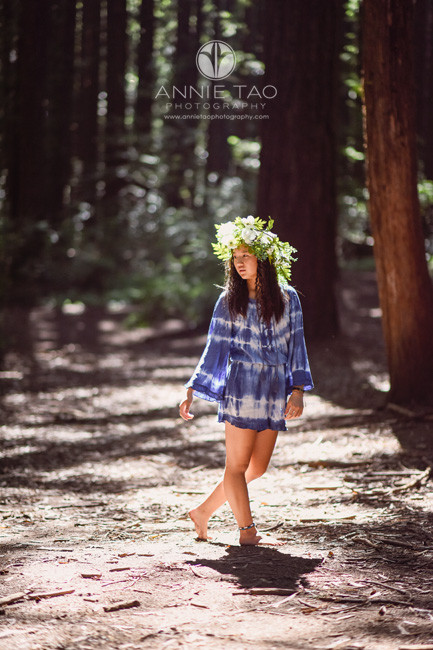 East-Bay-styled-photography-barefoot-teen-with-flower-crown-in-woods
